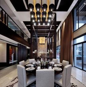 黑色时尚中式风格餐厅吊顶图片