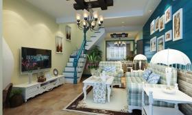美式清新绿色客厅背景墙美图欣赏