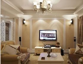 简欧风格黄色客厅背景墙设计图片