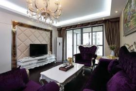 欧式浪漫白色客厅背景墙装修布置