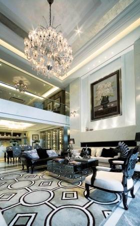 米色简欧风格客厅吊顶装饰图