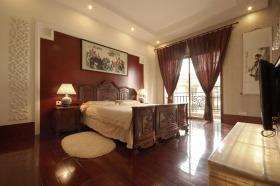 中式风格红色卧室装饰图
