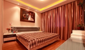 现代粉色卧室窗帘设计欣赏