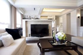 时尚米色现代风格客厅背景墙装修图片