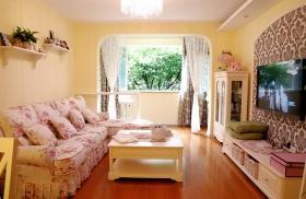 粉色田园风格客厅背景墙赏析