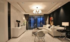 现代黑色客厅吊顶设计美图