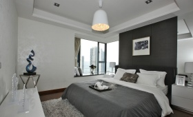 灰色简约风格卧室飘窗设计图