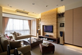 现代米色客厅背景墙设计效果图