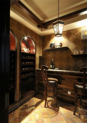 美式风格黄色雅致酒柜设计图