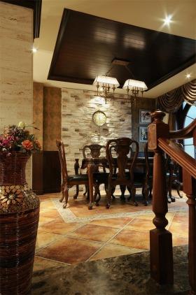 褐色新古典风格餐厅吊顶装修