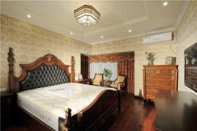 美式黄色卧室背景墙设计