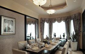 灰色欧式风格餐厅窗户装修图片