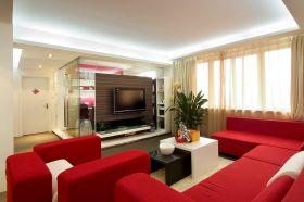 红色混搭背景墙设计图欣赏