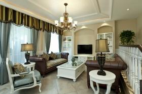 白色简欧风格客厅装修设计图