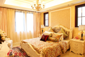 浪漫黄色欧式风格卧室设计图
