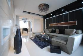 现代风格黑色客厅背景墙装修图片