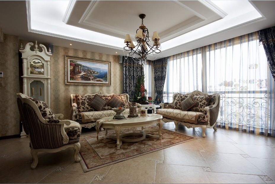欧式奢华客厅吊顶装潢设计图