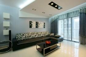 现代风格蓝灰色客厅图片赏析