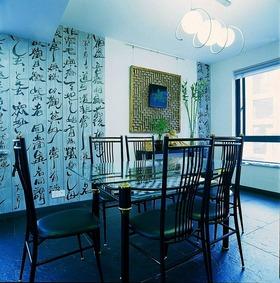新中式风格蓝色餐厅效果图赏析
