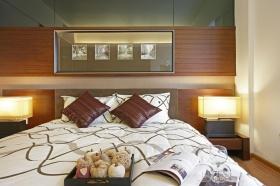 现代褐色卧室背景墙图片赏析