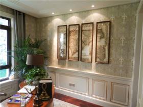 欧式米色书房背景墙设计图片
