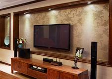 中式原木电视背景墙