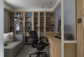 现代原木色书房装饰