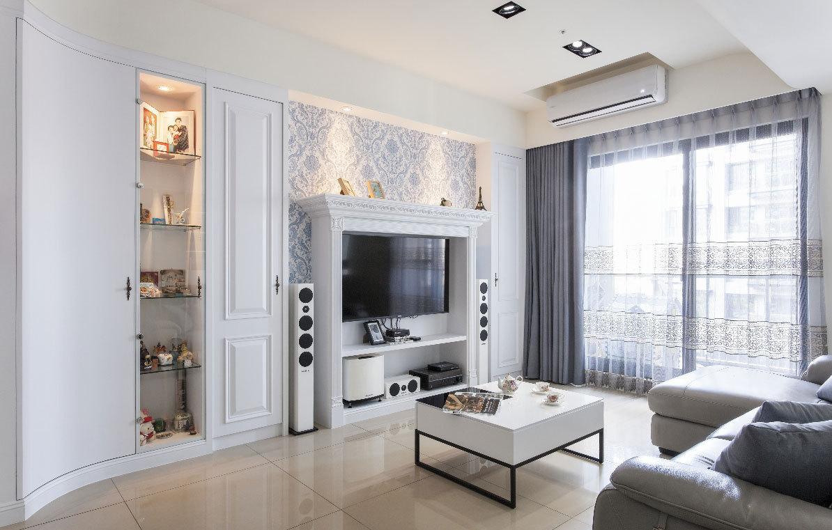 欧式风格小户型白色客厅设计效果图