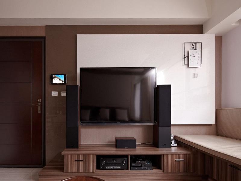 原木质感现代风格背景墙设计图