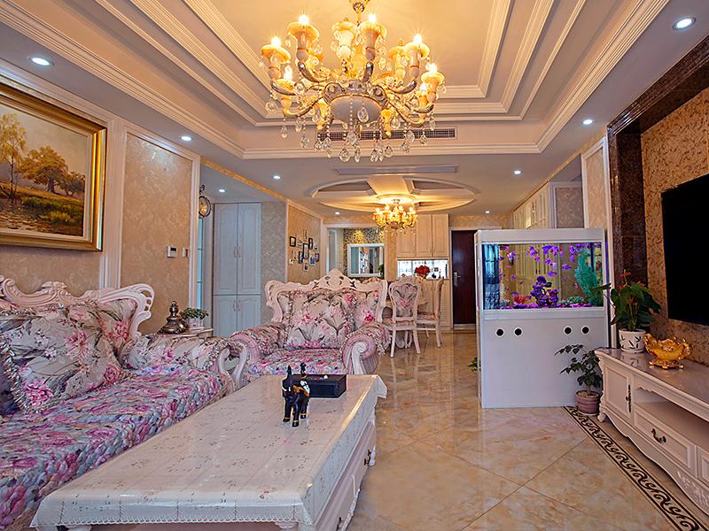 欧式华丽客厅设计装潢-兔狗装修效果图