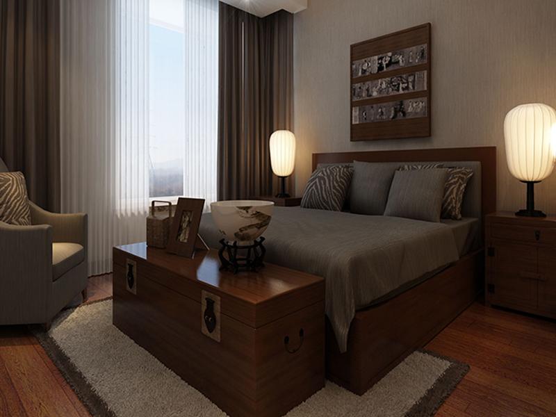 现代中式时尚卧室装修效果图图片