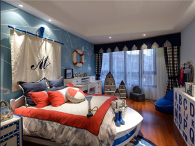 可爱温馨地中海水手风儿童房设计图