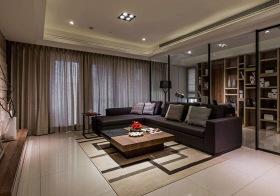 现代简约深紫色布艺沙发实景