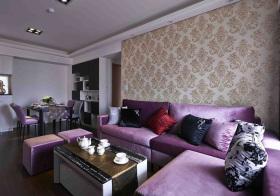 简欧紫色高贵绒布沙发实景