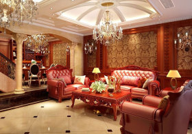 欧式古典奢华皮质沙发效果图