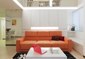 现代简约橙色沙发实景