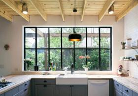 美式厨房原木吊顶实景
