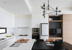 现代洁白岛型厨房欣赏