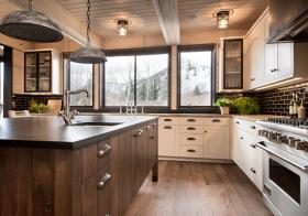 美式复古岛型厨房美图