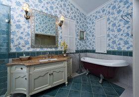 美式碎花瓷砖卫生间实景