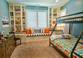 美式双层床儿童房美图