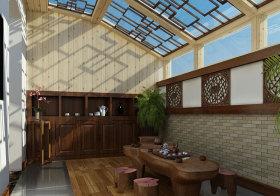 新中式复古阳台效果图