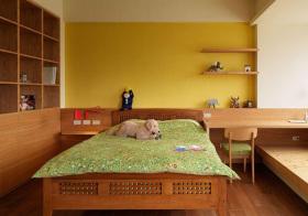 宜家暖黄卧室背景墙欣赏