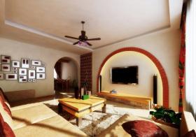 东南亚拱形电视背景墙设计