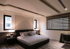 美式砖块卧室背景墙实景