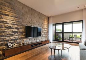 现代石砖电视背景墙设计