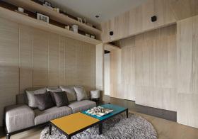 宜家原木沙发背景墙美图