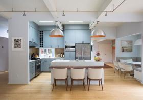宜家简约蓝色开放式厨房美图