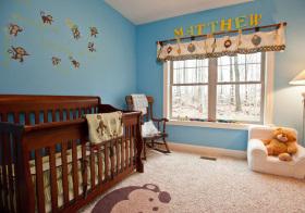 北欧天蓝猴子儿童房实景