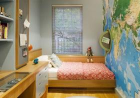 现代地图壁纸儿童房实景